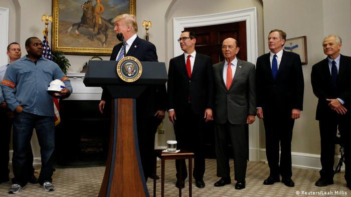 US President Trump talks to steel workers