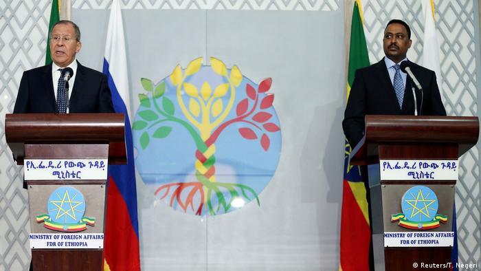 Äthiopien Besuch russischer Außenminister Sergei Lawrow mit Workneh Gebeyehu