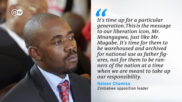 A picture of Nelson Chamisa, accompanied by a quotation credited to him, which reads: It's time up for a particular generation. This is the message of our liberation icon Mr Mnangagwa, just like Mr Mugabe. It's time for them to be warehoused and archived for national use as father figures, not for them to be runners of the nation at a time when we are meant to take up our responsibility.