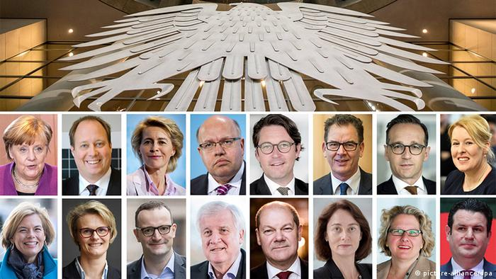 A combined photo showing mugshots of the entire German cabinet