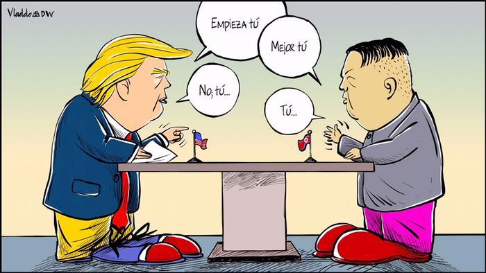 """""""Empieza tú"""" exhorta Donald Trump a Kim Jong-Un. """"Mejor tú"""", responde el norcoreano. En la cita de junio, el programa de la cumbre no estaba nada claro y ambos jefes de Estado tuvieron que improvisar."""