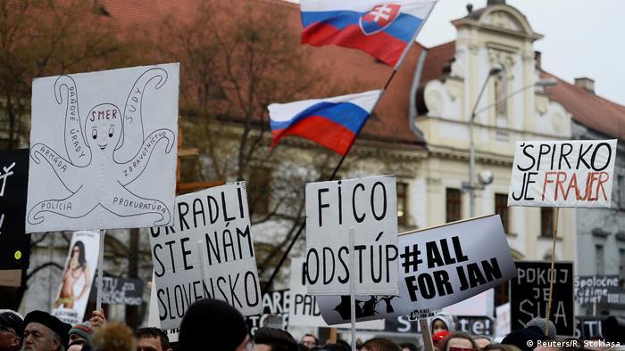 Slovak protesters in Bratislava