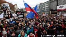 09.03.2018 Demonstrators attend a protest called Let's stand for decency in Slovakia in reaction to the murder of Slovak investigative reporter Jan Kuciak and his fiancee Martina Kusnirova, in Bratislava, Slovakia March 9, 2018. REUTERS/Radovan Stoklasa TEMPLATE OUT
