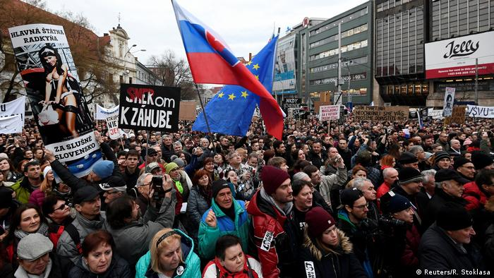 Slovak protesters calling for Prime Minister Robert Nico and his government to resign
