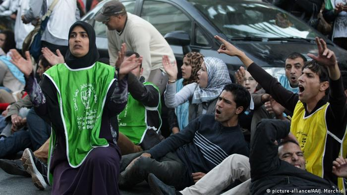 Marokko Protest wegen Arbeitslosigkeit in Rabat (picture-alliance/AA/J. Morchidi)