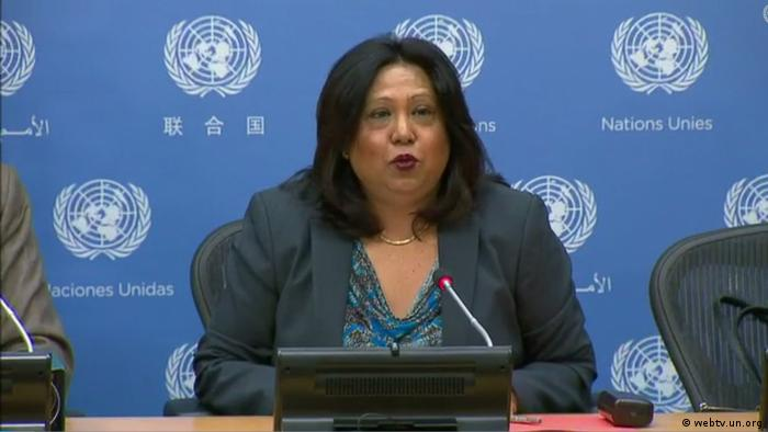 Pramila Patten during a press briefing at the UN headquarters in New York - File