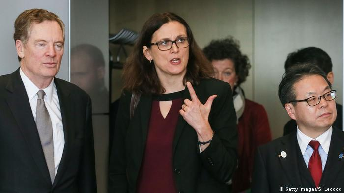 Belgien Cecilia Malmstrom Robert Lighthizer Hiroshige Seko (Getty Images/S. Lecocq)