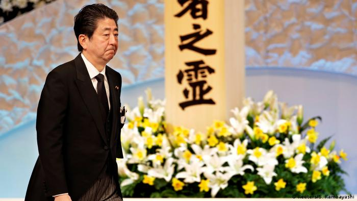 Japans Prime Minister Shinzo Abe during the 2018 tsunami memorial ceremony