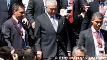 Brasiliens Präsident Michel Temer verlässt den Kongress in Valparaiso, Chile, nachdem er an der Vereidigung des chilenischen Präsidenten Sebastian Pinera teilgenommen hat