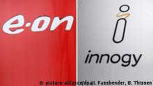 ARCHIV - 15.03.2017 und 05.03.2018, Nordrhein-Westfalen, Essen: Das Logo vom Energiekonzern E.ON (l) und das Logo an der Unternehmenszentrale des Energieversorgungsunternehmens Innogy. (zu E.ON will RWE-Tochter Innogy kaufen vom 11.03.2018) Foto: Ina Fassbender, Bernd Thissen/dpa +++(c) dpa - Bildfunk+++   Verwendung weltweit