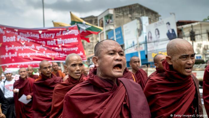 Buddhist monks protesting against Rohingya