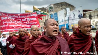 Myanmar Yangon | Protest buddhistische Mönche gegen Rohingya-Flüchtlinge