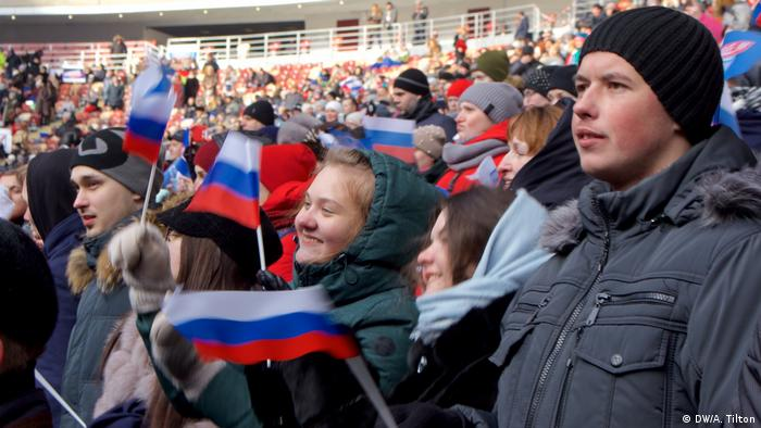 Putin supporters at an election campaign in Moscow (DW/A. Tilton)