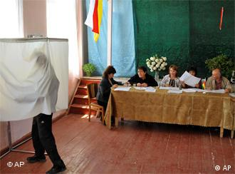 A man votes in a South Ossetian election
