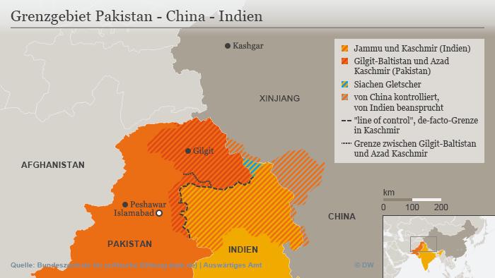 Infografik Karte Grenzgebiet Pakistan - China - Indien DEU