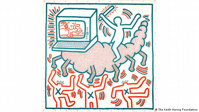 Untitled painting on vinyl tarp by Keith Haring shows a computer as a parasite (The Keith Haring Foundation)