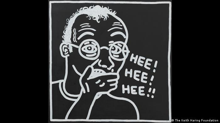 Keith Haring self-portrait while laughing (The Keith Haring Foundation)
