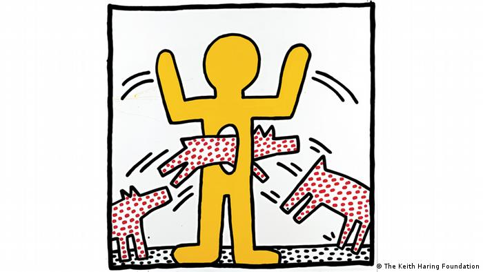 red spotted dogs jumping through a hone in a yellow stick figure's belly (The Keith Haring Foundation)
