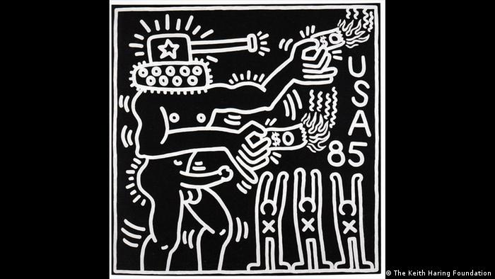 A man with a tank on his head burning money (The Keith Haring Foundation)