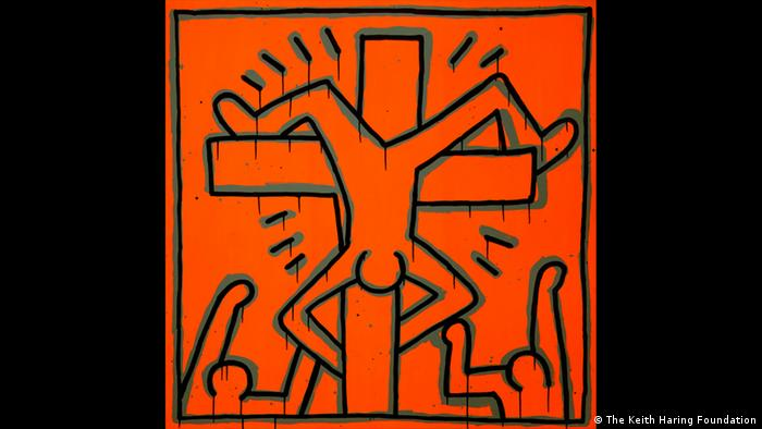 A drawing with a man hanging upside down on The Cross (The Keith Haring Foundation)