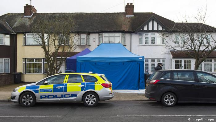 Police car parked outside the location where Glushkov was found dead (Imago/i Images)