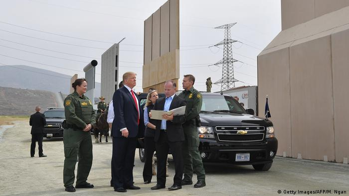 Trump inspects a series of border wall prototypes in southern California earlier this month.