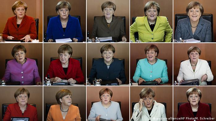 Montagem mostra Angela Merkel vestida com roupas de cores diferentes