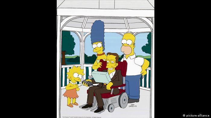 Aparição de Stephen Hawking (c.) em Os Simpsons