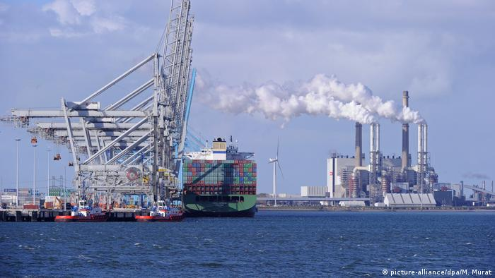 A container ship docked at the port in Rotterdam