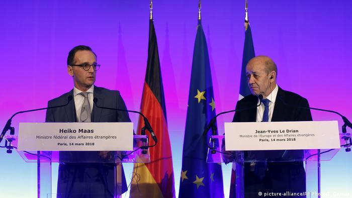 Frankreich Antrittsbesuch Außenminister Heiko Maas in Paris (picture-alliance/AP Photo/T. Camus)