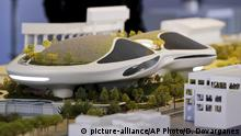 14.03.2018 An architectural model of the Lucas Museum of Narrative Art iconic building designed by Ma Yansong of MAD Architects is displayed in Los Angeles Wednesday, March 14, 2018. The institution, scheduled to open in 2021, is envisioned as not just a repository for Star Wars memorabilia but a wide-ranging museum representing all forms of visual storytelling from paintings and drawings to comic strips and digital and traditional films. (AP Photo/Damian Dovarganes)  
