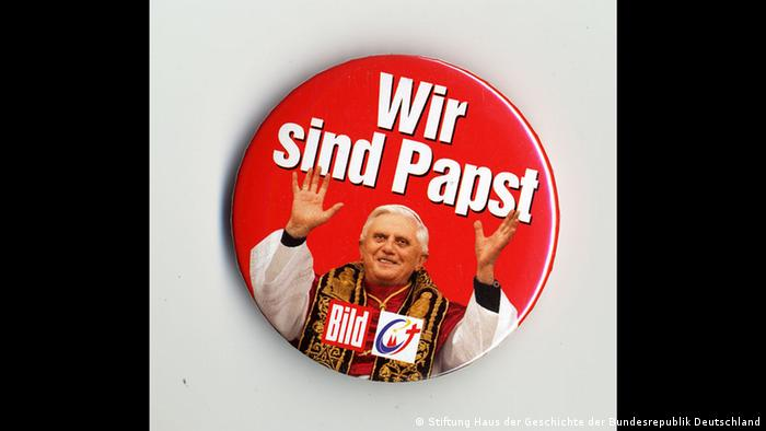 A tag of the German daily 'Bild' with a picture of Pope Benedict XVI entitled 'Wir sind Papst' ('We are Pope')