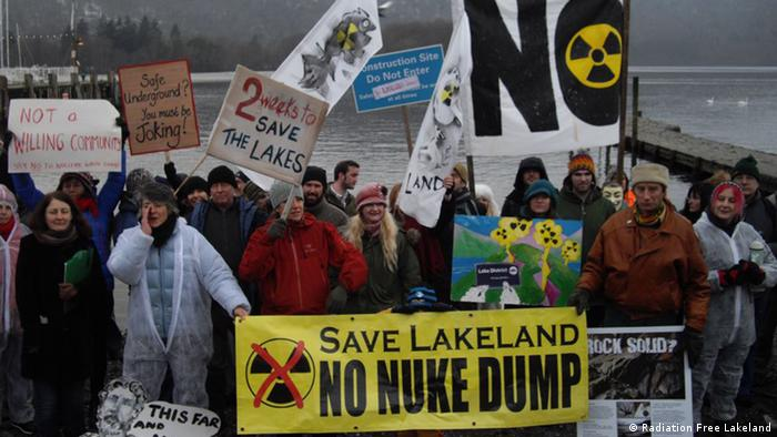 Demonstrators gathered in 2012 to protest against plans for a nuclear disposal facility under Cumbria