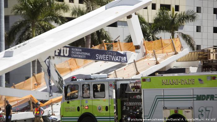 Several killed in Miami after pedestrian bridge collapses over highway
