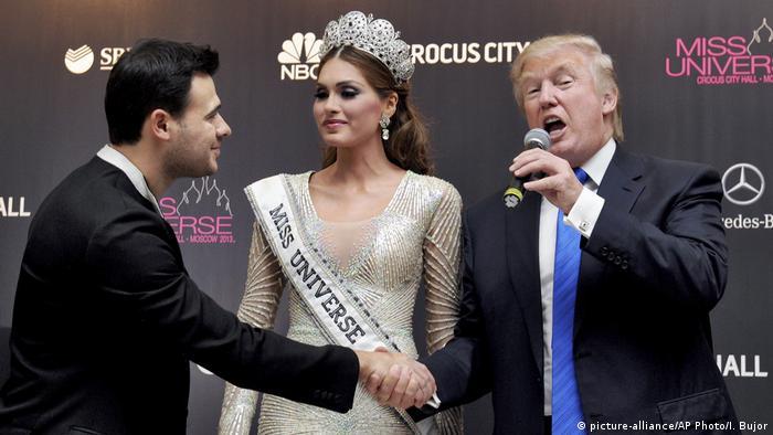 Эмин Агаларов с мисс Вселенная и Дональдом Трампом
