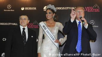 Trump alongside Gabriela Isler and Aras Agalarav at the 2013 Miss Universe contest in Moscow