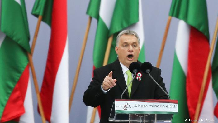 Hungary's Prime Minister Viktor Orban gestures as he speaks during Hungary's National Day celebrations