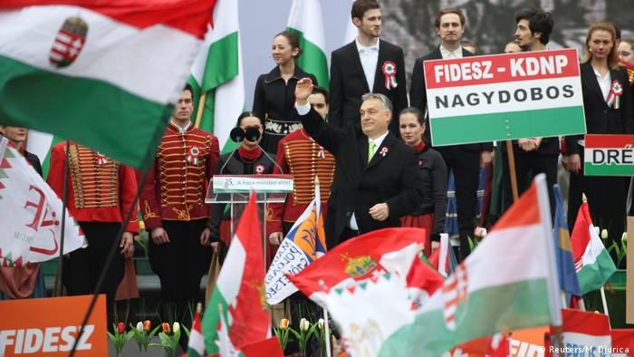 Prime Minister Viktor Orban spoke at the rally which also marked the 1848 Hungarian Revolution against Austria