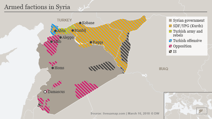 Map of controlled areas in Syria