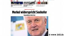 Screenshot Website Bild Merkel widerspricht Seehofer (www.bild.de)