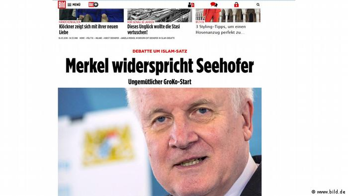 'Merkel contradicts Seehofer' was the Bild headline after his remarks