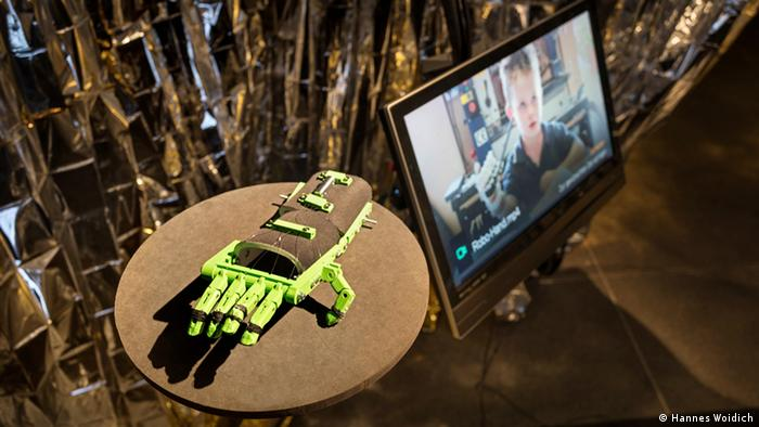 3D printout of a hand prosthesic based on an open source design from Robohand