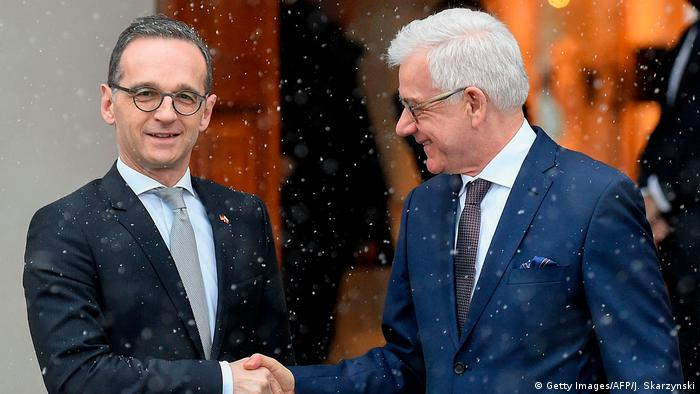 Germany and Poland's foreign ministers Heiko Maas and Jacek Czaputowicz in Warsaw (Getty Images/AFP/J. Skarzynski)