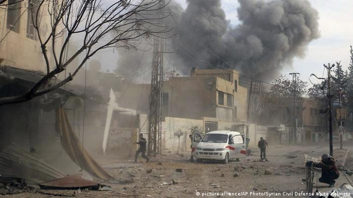 Airstrikes hit near a Red Crescent ambulance in eastern Ghouta