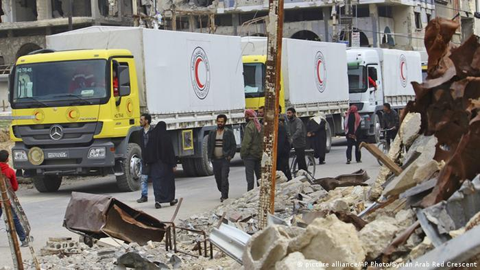 A convoy of Syrian Red Crescent trucks in eastern Ghouta in March