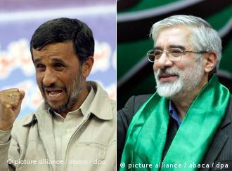 میرحسین موسوی (راست) و محمود احمدینژاد