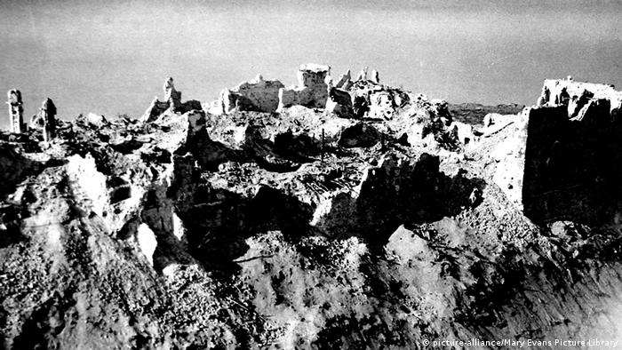 The ruins of Monte Cassino after Allied bombing