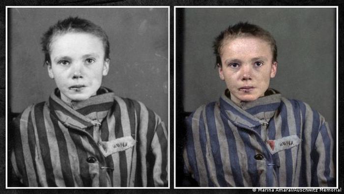 Czesława Kwoka's original registration photo at Auschwitz next to a colorized version by Marina Amaral