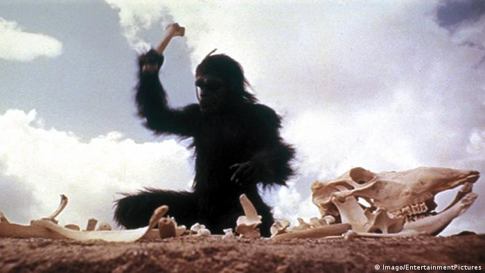 Filmstill aus 2001: Odyssee im Weltraum mit knochenschwingendem Affen.(Imago/EntertainmentPictures)