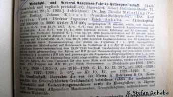 Από τον Κατάλογο Επιχειρήσεων με σημαντική συμβολή στη διεξαγωγή του πολέμου (ανάμεσα σε αυτές και του Έριχ Όχαμπα)
